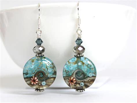 Handcrafted Earrings - amazing seascape handmade bead earrings felt