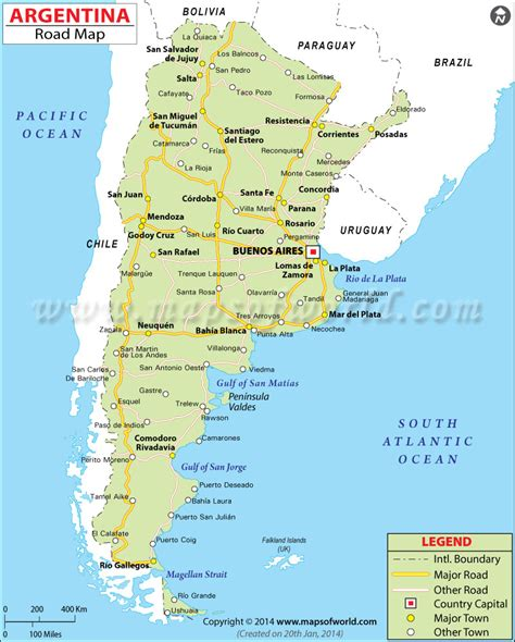 on map argentina road map