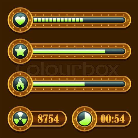 Home Design Game App game steampunk energy time progress bar icons set ui