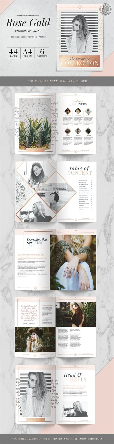 pinterest publication layout graphic design ideas rose gold theme magazine by