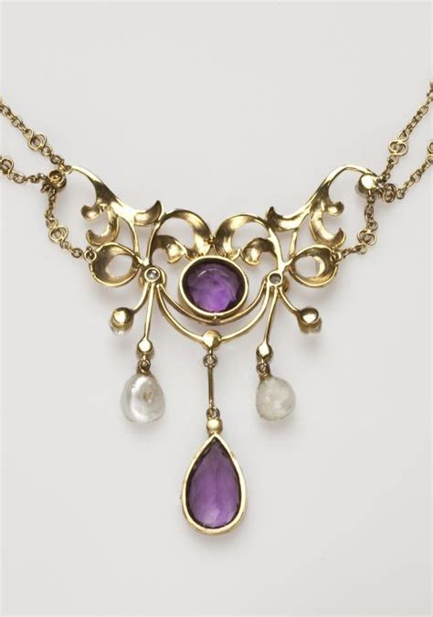 american nouveau amethyst and pearl