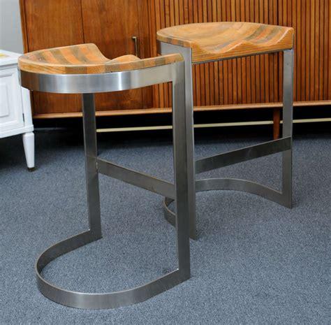 Wood Saddle Bar Stools by Wood Saddle Seat Warren Bacon Bar Stools At 1stdibs