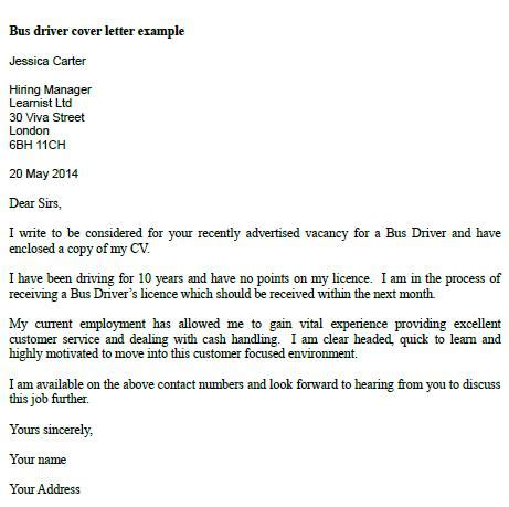 School Driver Cover Letter by Post Reply