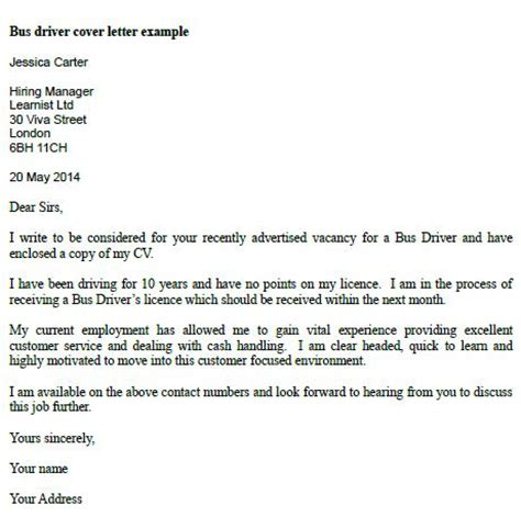 cover letter driver post reply