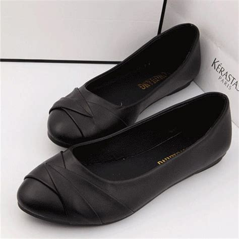 plain black flat shoes womenn slip on ballet flats plain classic flats for