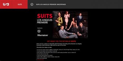 Los Angeles Sweepstakes - attend the suits premiere in los angeles