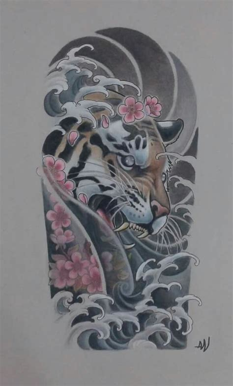 oriental tattoo stencils tiger cherry blossom waves sexy tattoo ideas pinterest