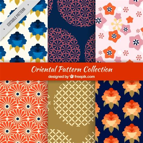 oriental pattern vector free download collection of patterns in oriental style vector free