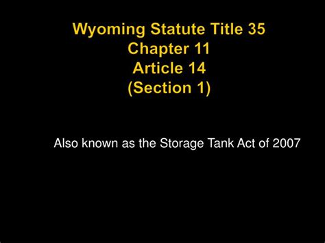 article 14 section 1 ppt wyoming statute title 35 chapter 11 article 14