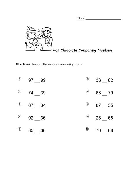 comparing numbers coloring page 17 best images of hot chocolate worksheet hot chocolate