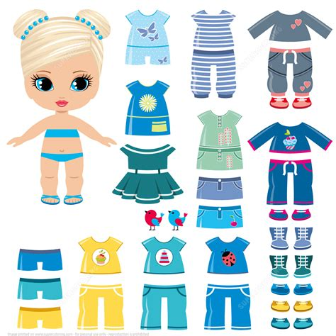 Summer Clothing And Shoes For A Little Girl Paper Doll Free Printable Papercraft Templates Fashion Paper Doll Template