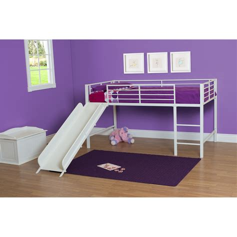 kids beds with slide dhp junior twin low loft bed reviews wayfair