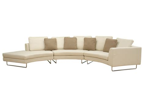 curved leather sectional sofa large round curved sofa sectional baxton studio lilia