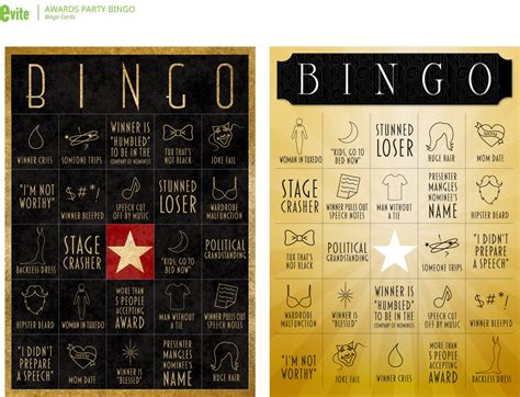win  awards party  awards night bingo evite
