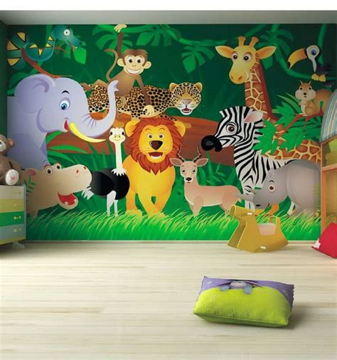 Childrens Wall Mural kids bedroom ideas zoo wall mural kids pinterest