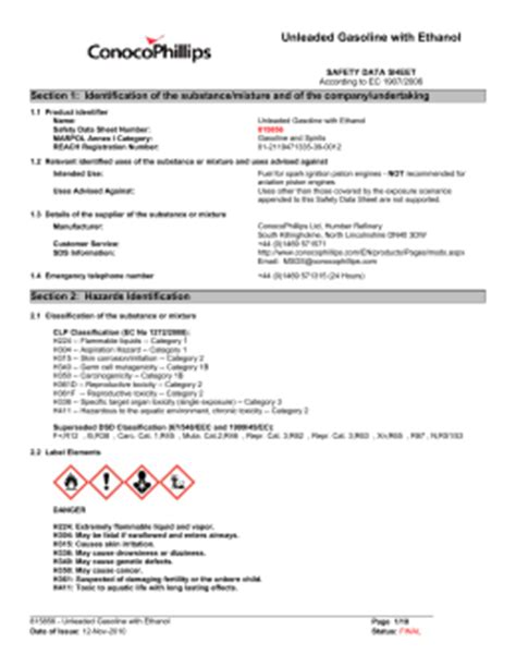 Aics Study Section by Material Safety Data Sheet Unleaded Gasoline All Grades