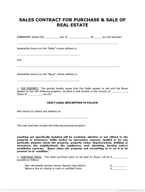blank real estate purchase agreement get high quality printable simple land contract form