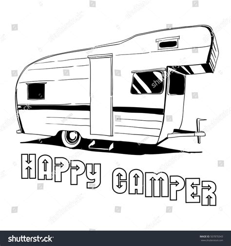 doodle trailer vector illustration isolated vintage stock