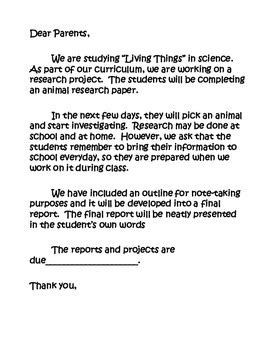 Research Project Letter To Parents Animal Report Outline Parent Letter Primary Grades By Pinkappleprints