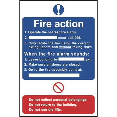 fire action notice sign ese direct