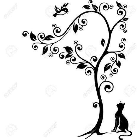 clipart bianco e nero gatto sotto un albero guardando l uccello illustrazione in