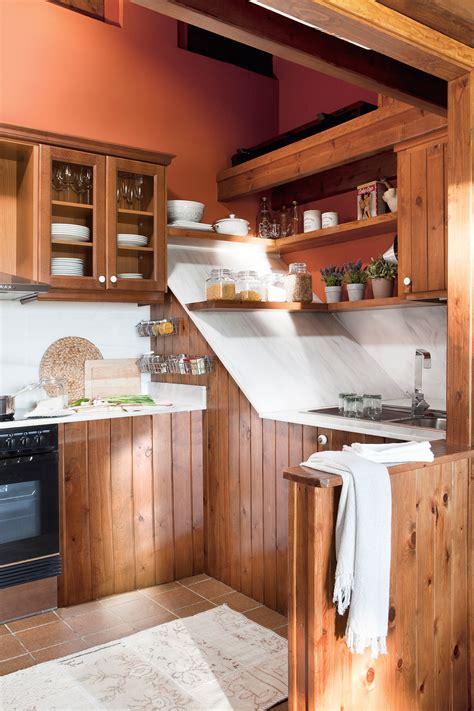 muebles de cocina madera rustica cocinas peque 241 as distribuidas en quot l quot