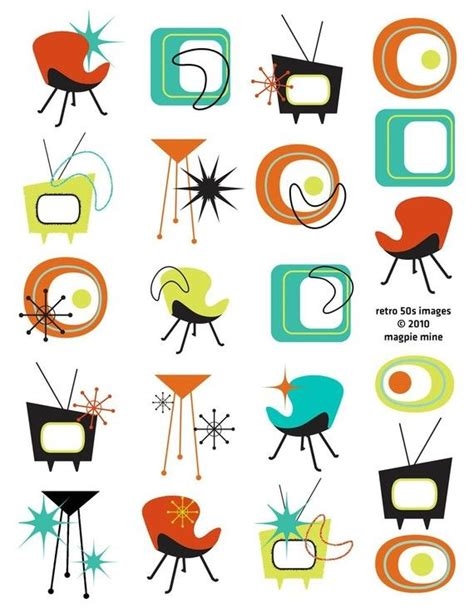Mid Century Designs Retro Collage Sheet 1950s 1960s | mid century designs retro collage sheet 1950s 1960s