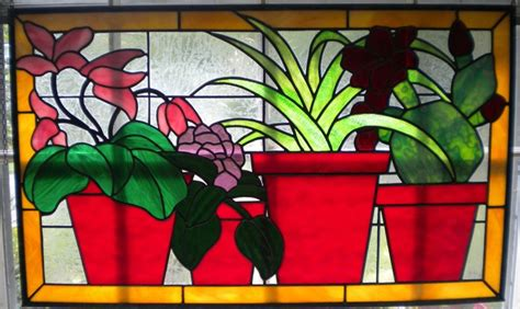 Large Home Decor Stained Glass Panel Of Clay Flower Pots Horizontal Window