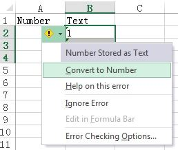 excel verify number format and convert text to number
