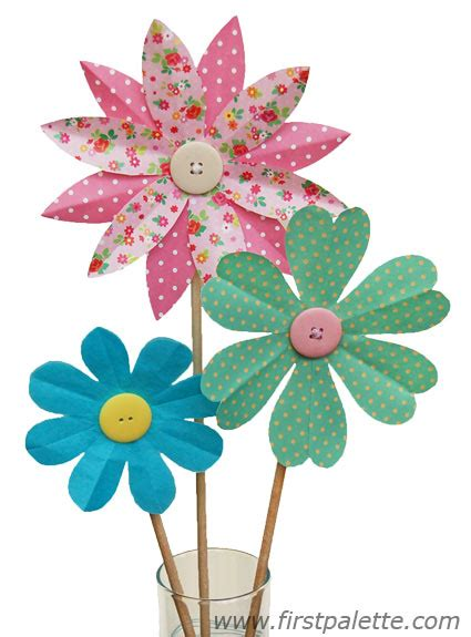 Flower Paper Crafts - folding paper flowers craft 8 petal flowers