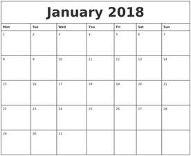 Calendar 2018 Printable Monday Start January 2018 Printable Monthly Calendar