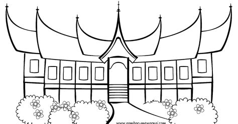 mewarnai rumah gadang adat minangkabau contoh gambar