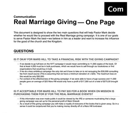 Commitment Letter Marriage Memo Mars Hill Church Staff Worried That Real Marriage Caign Would Benefit Driscoll