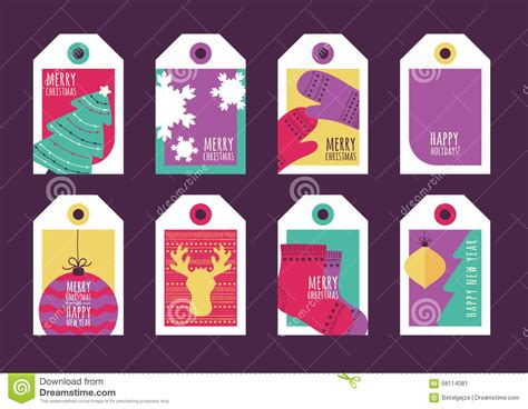 happy new year tags greeting card background and gift tags happy new year