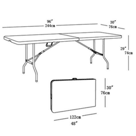 6ft table dimensions large 8ft folding table