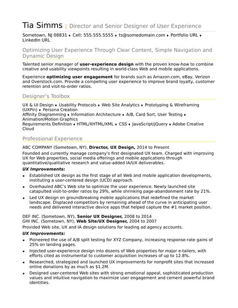 ux resume template sle resume for an experienced ux designer