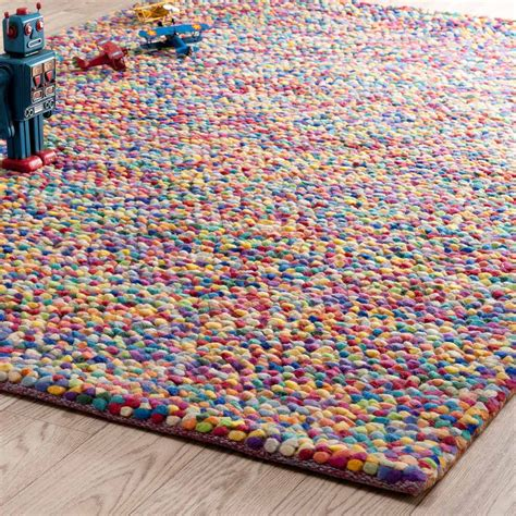 Rainbow Woollen Rug Multicoloured 140 X 200cm Maisons Rainbow Rug