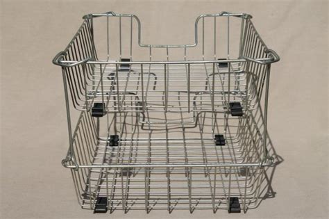 Furniture Kitchen Vintage Industrial Wire Basket Paper Trays Stacking In