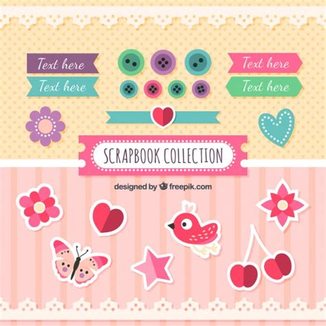 decorative things cute labels and decorative things for scrapbooking vector