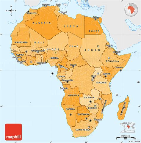 africa map in color political shades simple map of africa single color outside