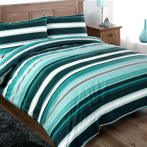 Quilt Covers by Single Modern Funky Teal White Striped Cotton Duvet Set