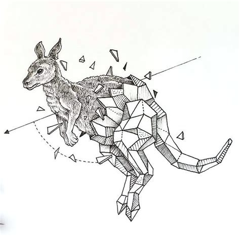 geometric kangaroo tattoo design