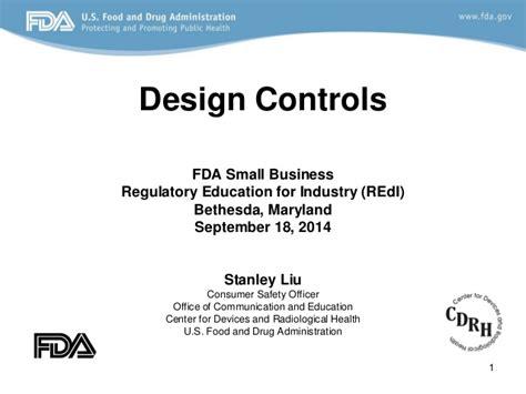 design application filing requirements design control fda requirements