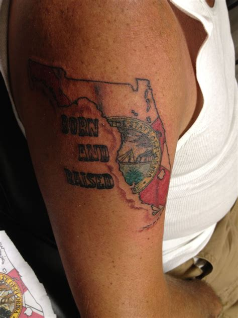 florida tattoo florida with state flag waving was his