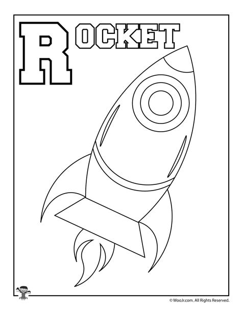whole alphabet coloring page r is for rocket woo jr kids activities