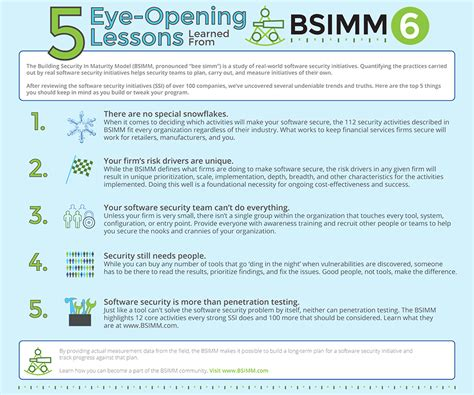 5 Lessons Learned Companies by 5 Lessons Learned From Bsimm6 Infographic Cigital