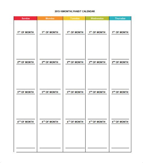 template for calendar month monthly schedule template 12 free excel pdf documents