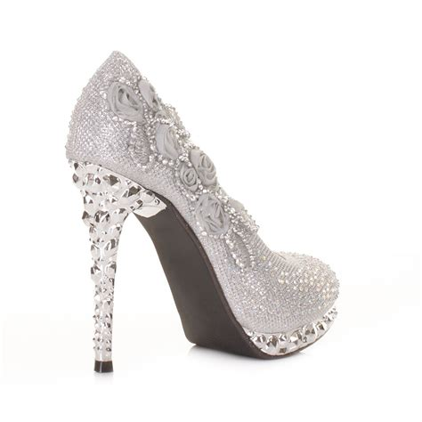 silver high heel shoe womens silver flower platform high heel
