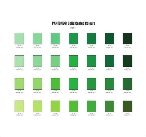 pantone green pantone color chart template 7 free word excel pdf