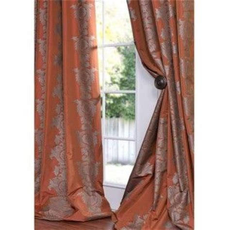 faux silk drapes 108 exclusive fabrics ralston printed rust faux silk 108 inch